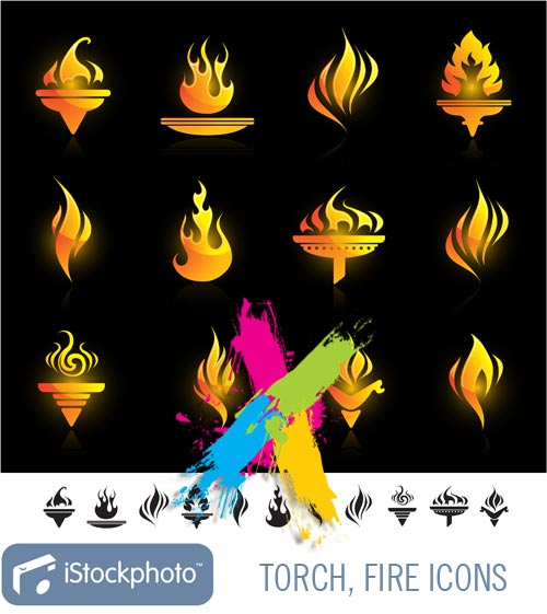 Torch, Fire Icons EPS