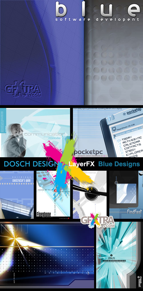 DoschDesign LayerFX Blue Designs 25xPSD