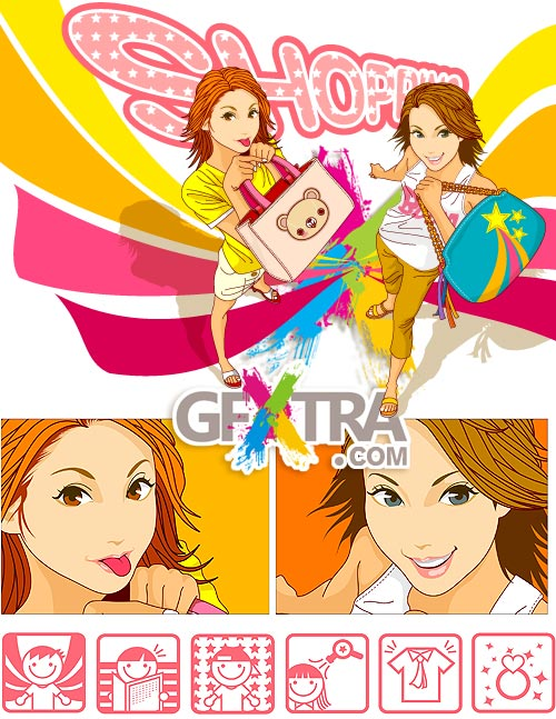 Shopping Girls and 6 Icons AI