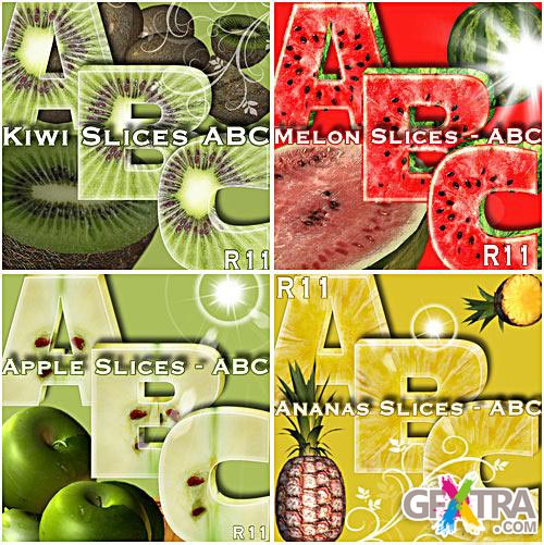 Fruit Alphabets, Ananas-Apple-Kiwi-Melon PNG