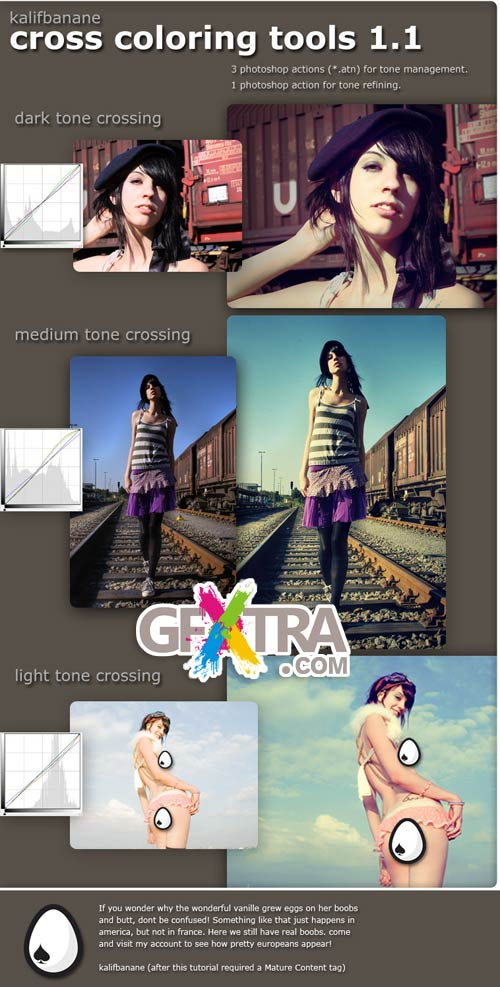 Cross Coloring Actions for Photoshop v1.1 by KalifBanane