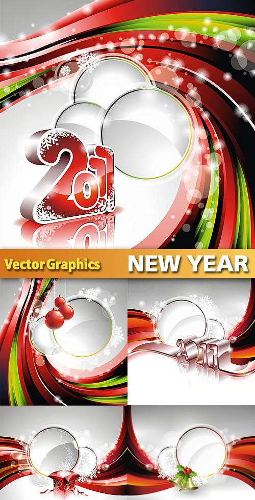 New Year 2011 Backgrounds, 5xEPS