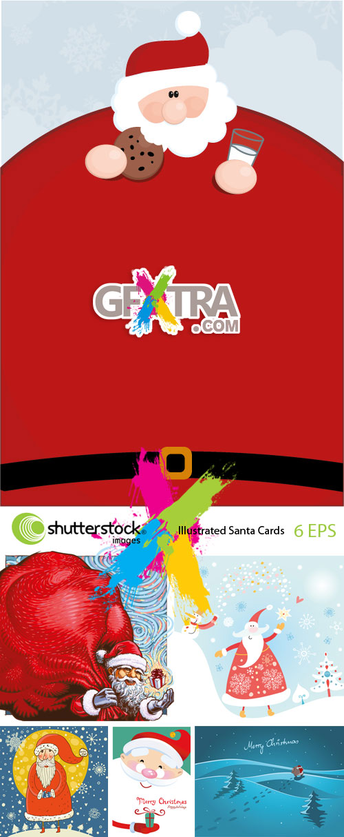 Illustrated Santa Cards 6xEPS