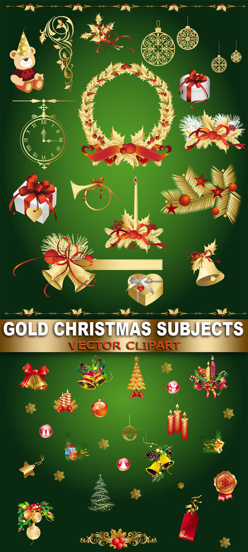 Gold christmas subjects