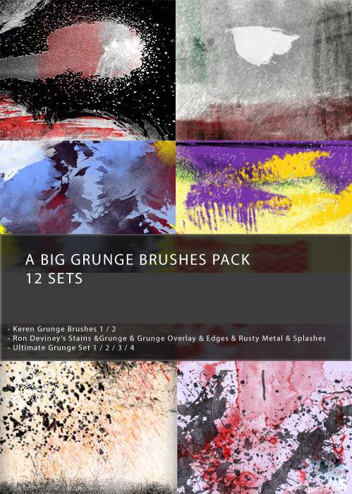Grunge Brushes Pack - 12 Sets
