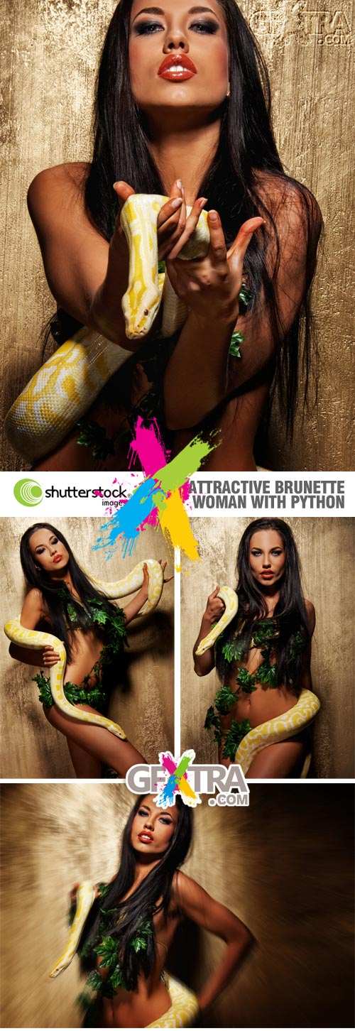 Shutterstock - Attractive Brunette Girl with Python 5xJPGs