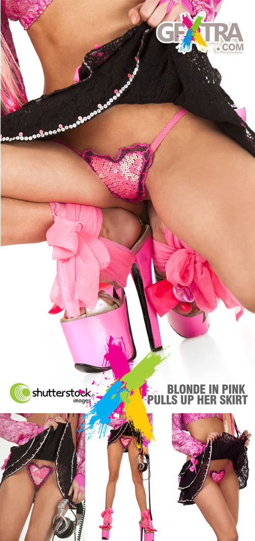 Shutterstock - Blonde in Pink Pulls Up Her Skirt 4xJPGs