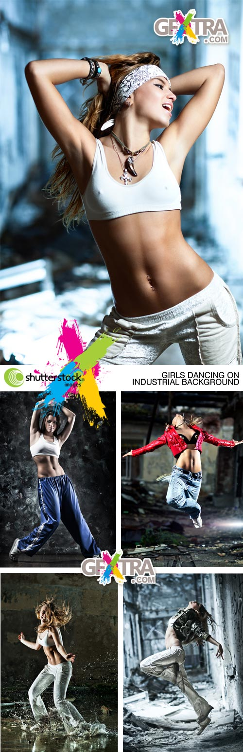 Girls Dancing on Industrial Background 5xJPGs - Shutterstock