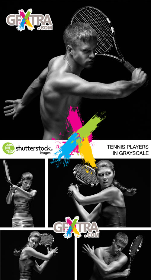 Tennis Players in Grayscale 5xJPGs - Shutterstock