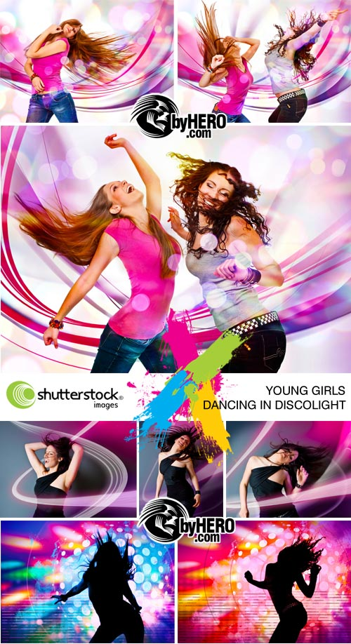 Young Girls Dancing in Discolight 8xJPGs - Shutterstock