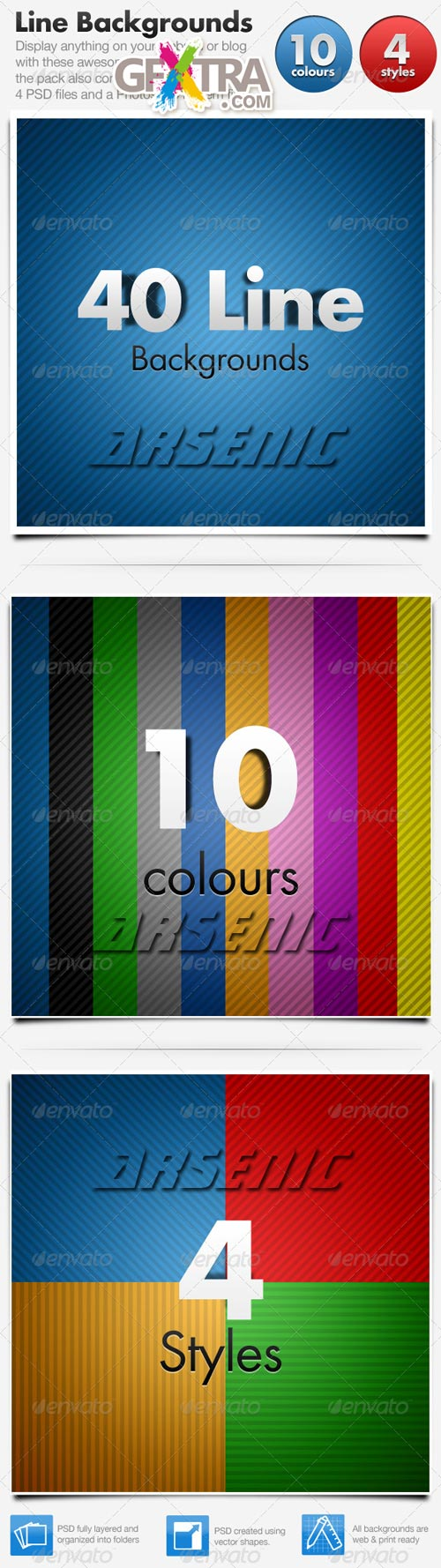 Line Backgrounds x 40 Horizontal & Diagonal - GraphicRiver - REUPLOADED!