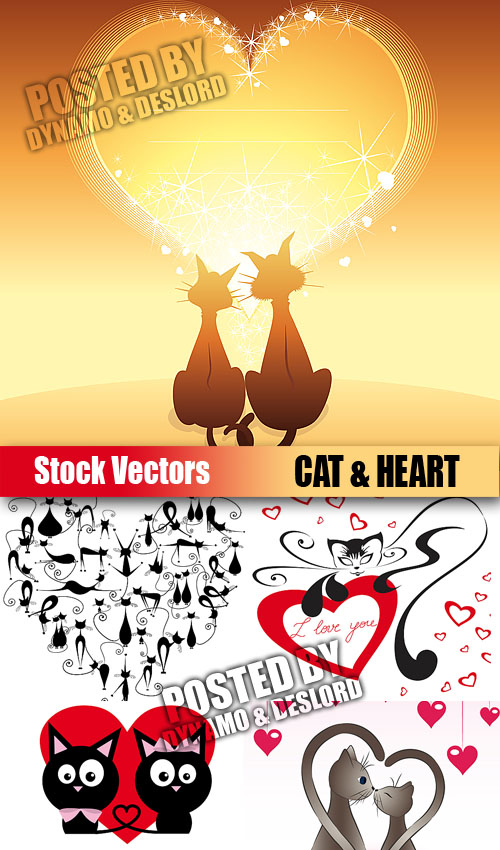 Stock Vectors - Cat & heart
