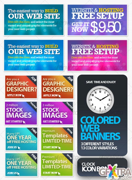 Colored Web Banners - GraphicRiver - REUPLOADED!