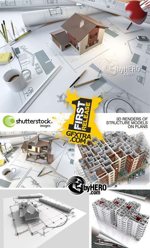 3D Renders of Structure Models on Plans 5xJPGs - Shutterstock