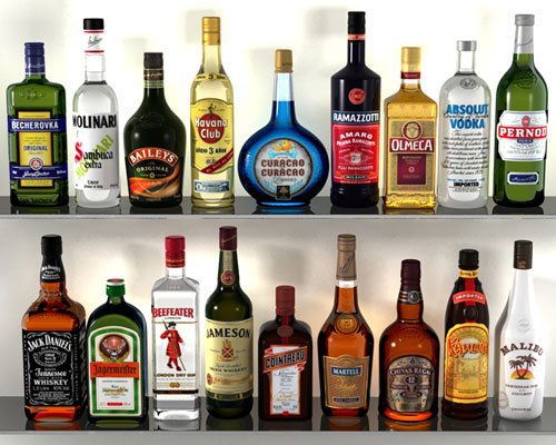 3D models of Alcohol Bottles