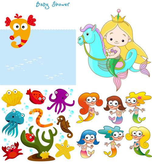 Vector - Cartoon Sea Creatures