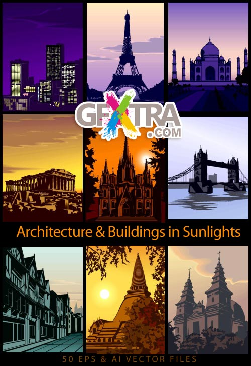 Architecture Buildings in Sunlights 50xEPS
