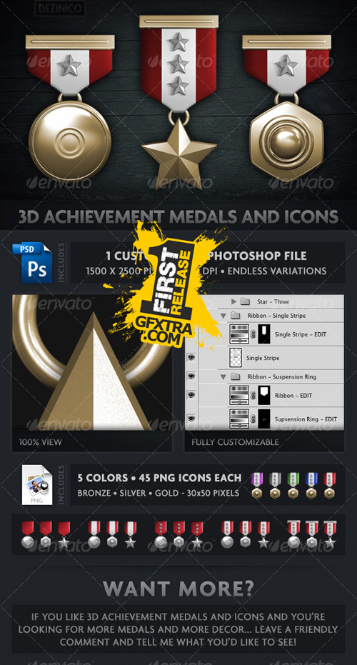 3D ACHIEVEMENT MEDALS AND ICONS (CUSTOMIZABLE) - GraphicRiver