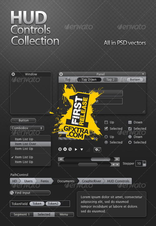 HUD Controls Collection - GraphicRiver - reuploaded