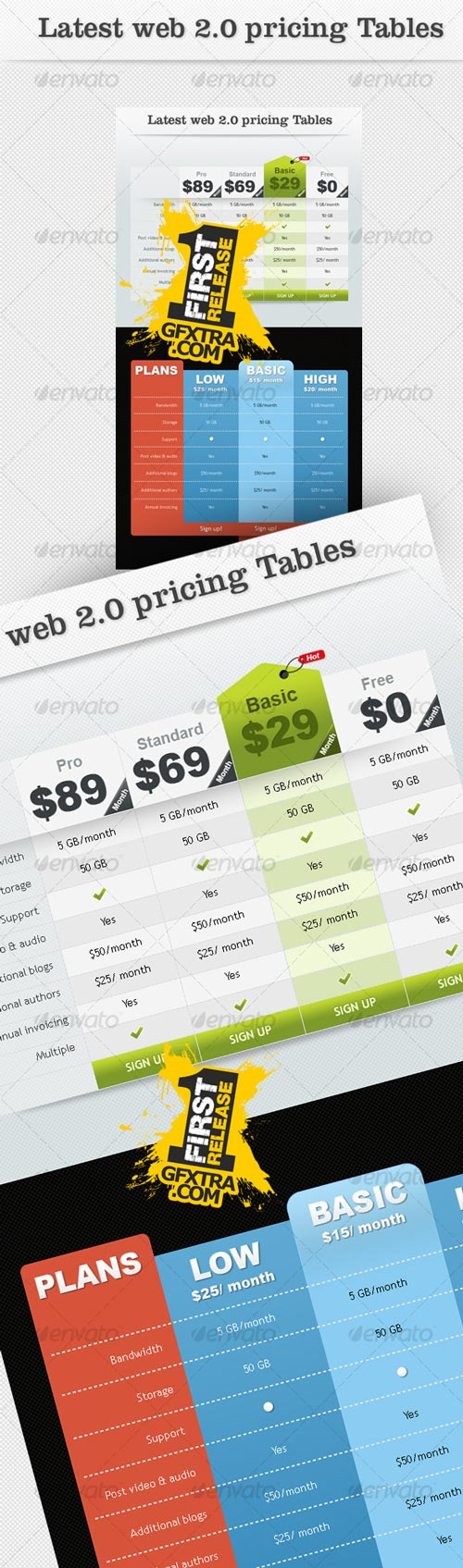 Latest Web2.0 Pricing Tables - GraphicRiver - REUPLOADED