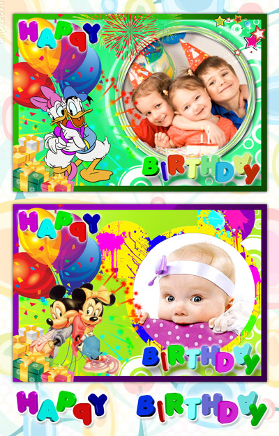 2 PSD Baby Frames With Birthday