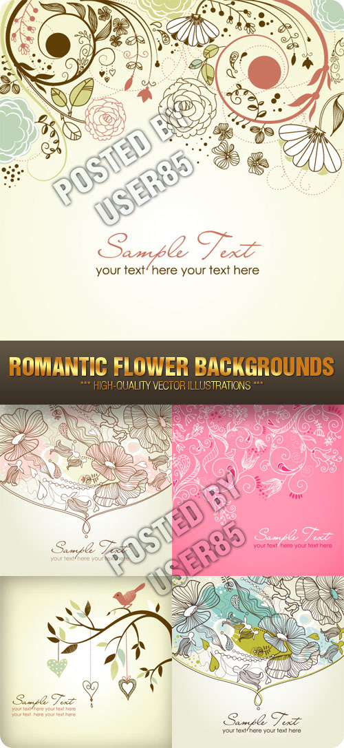 Stock Vector - Romantic Flower Backgrounds