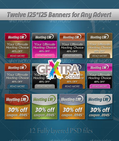 Twelve 125*125 Banner Templates - GraphicRiver - REUPLOADED!