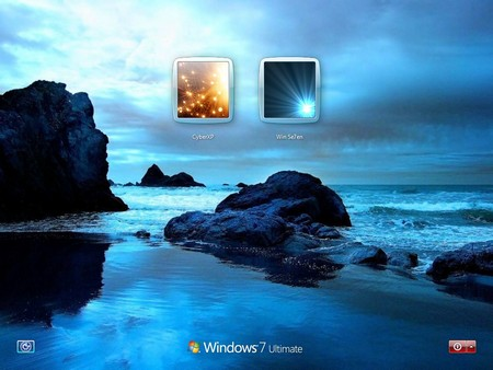 The welcome screen for Windows 7 - Blue Ocean