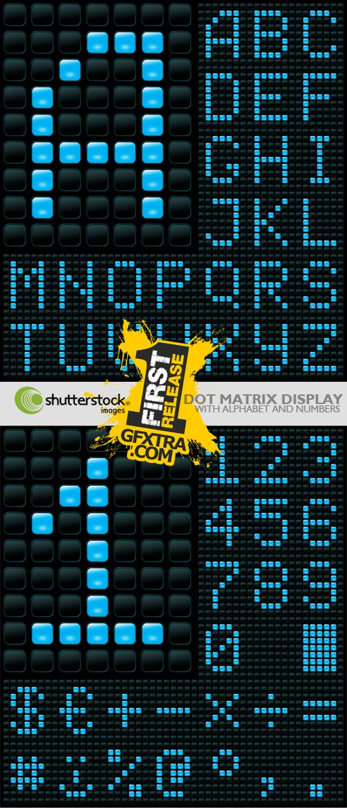 Shutterstock - Dot Matrix Display with Alphabet & Numbers EPS