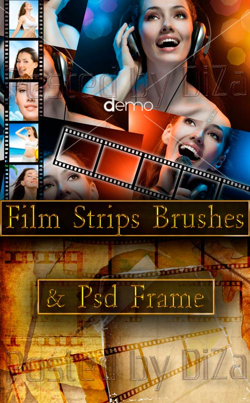 Film Strips Brushes and Psd Frame