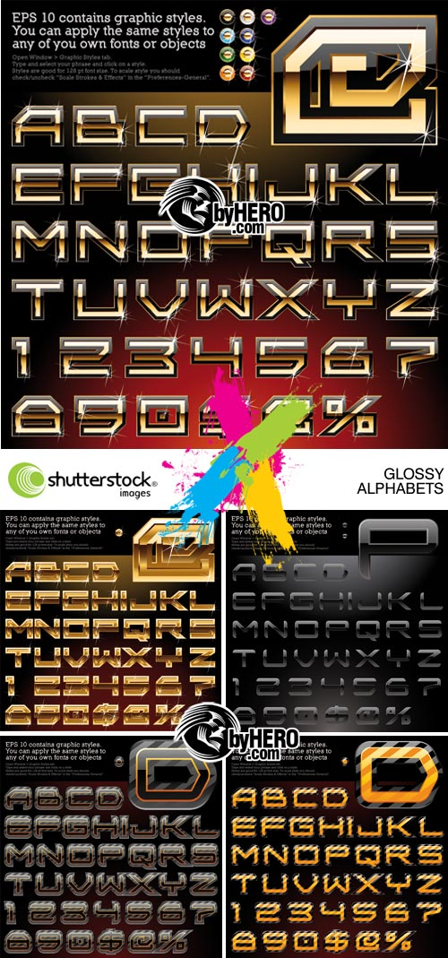 5 Glossy Alphabets 5xEPS Vector SS