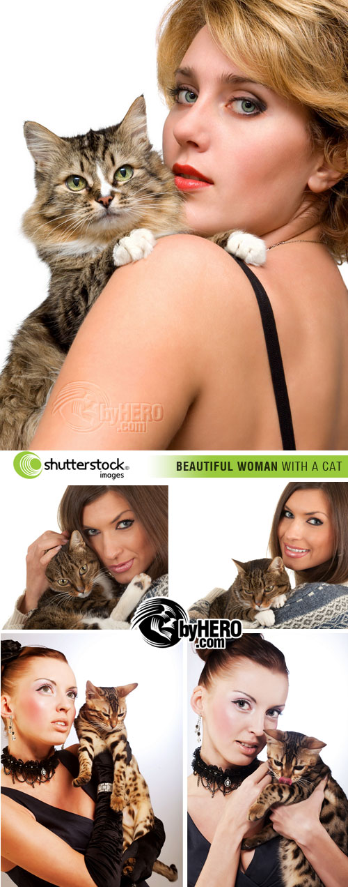 Shutterstock - Beautiful Woman with a Cat 5xJPGs