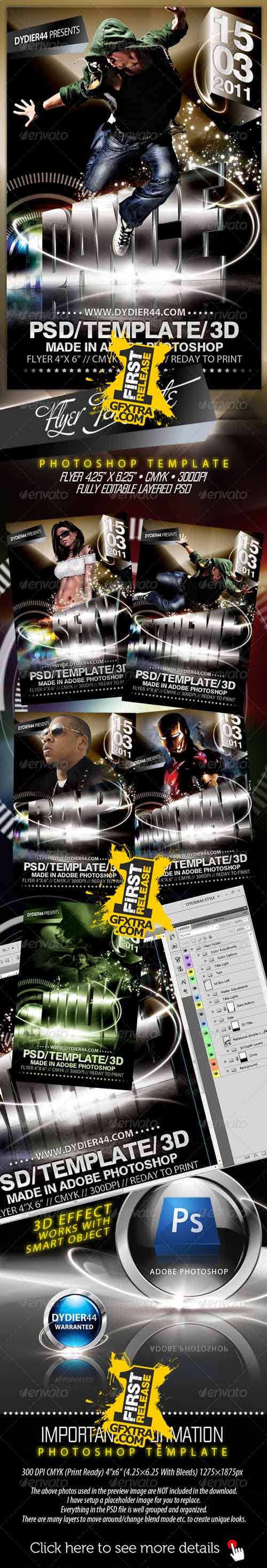 Extreme 3D (Flyer Template 4x6\