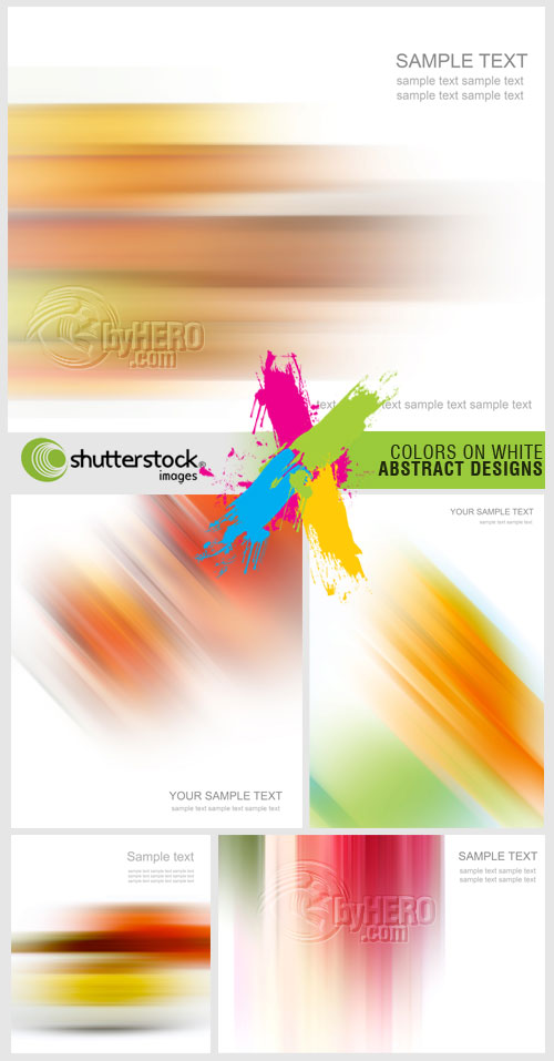 Shutterstock - Colors on White Abstract Designs 5xJPGs BYHERO.COM!