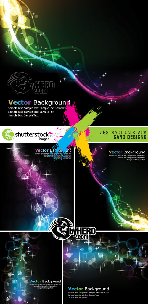 Shutterstock - Vector Abstracts On Black Background 5xEPS