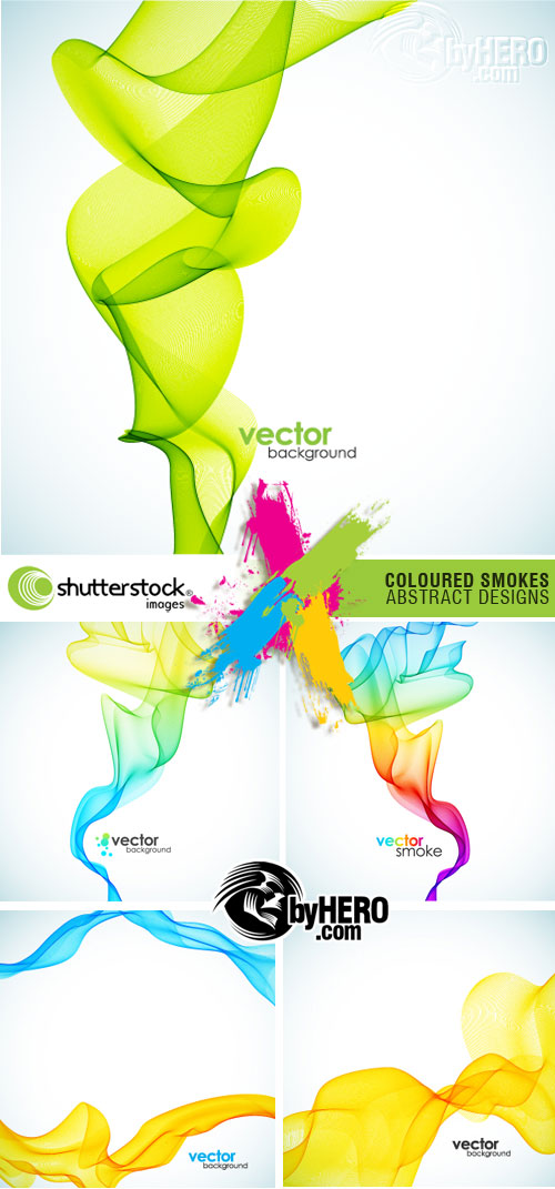 Shutterstock - Coloured Smokes Abstract Designs 5xEPS