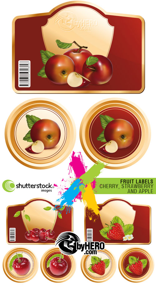 Shutterstock - Fruit Labels - Cherry, Strawberry and Apple 3xEPS