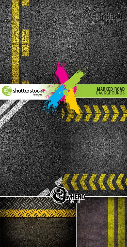 Shutterstock - Marked Road Backgrounds 6xJPGs