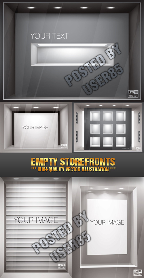 Stock Vector - Empty Storefronts