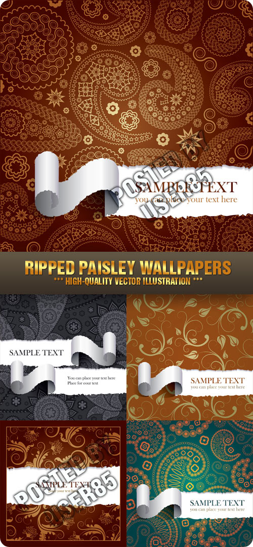 Stock Vector - Ripped Paisley Wallpapers