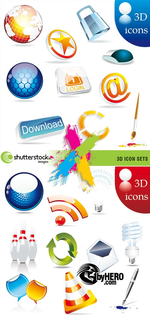 Shutterstock - 3D Icons in Vectors 2xEPS