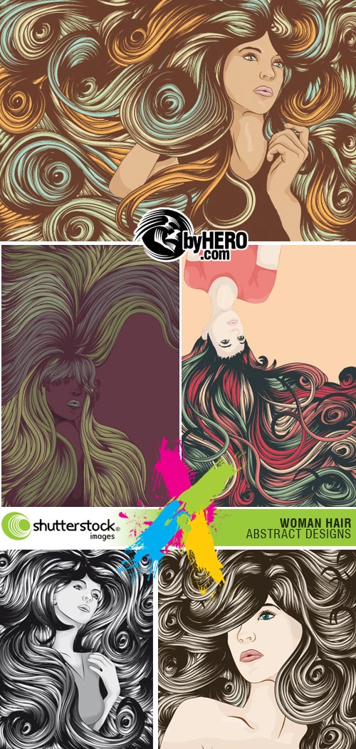 Woman Hair Abstract Designs 5xEPS - Shutterstock