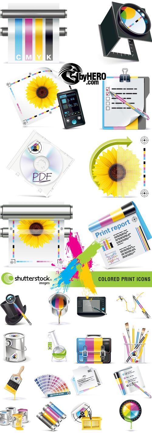 Shutterstock - Colored Print Icons 6xEPS