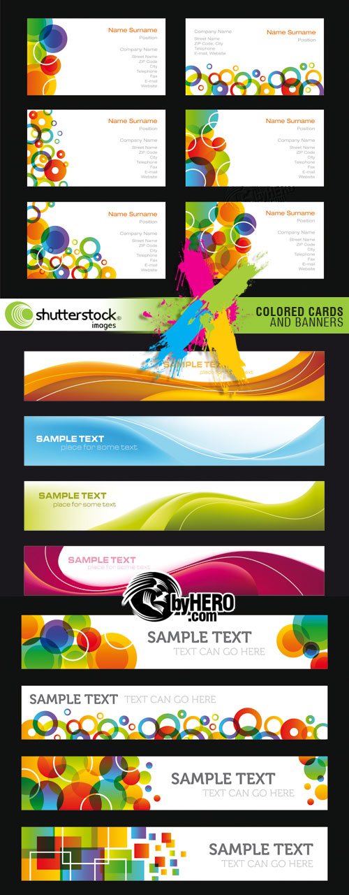 Shutterstock - Colored Cards and Banners 3xEPS