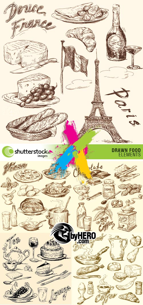 Shutterstock - Drawn Food Elements 5xEPS