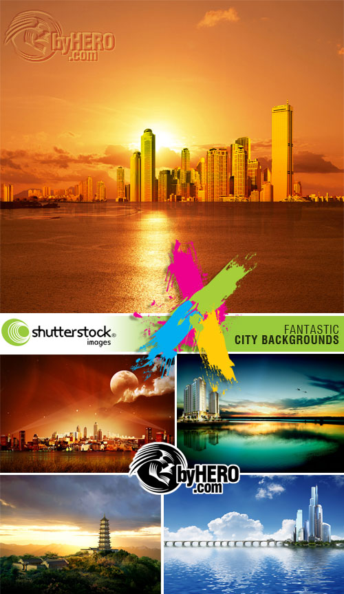 Shutterstock - Fantastic City Backgrounds 5xJPGs
