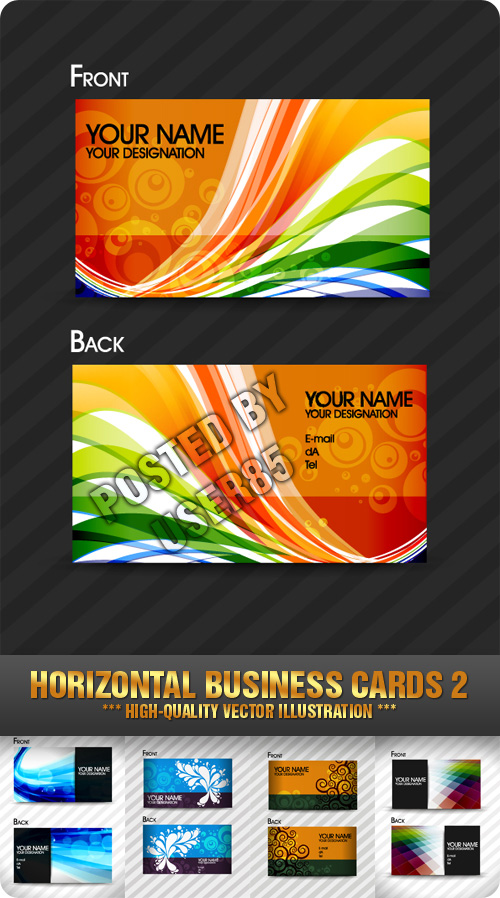 Stock Vector - Horizontal Business Cards 2