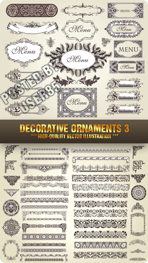 Stock Vector - Decorative Ornaments 3, 2xEPS