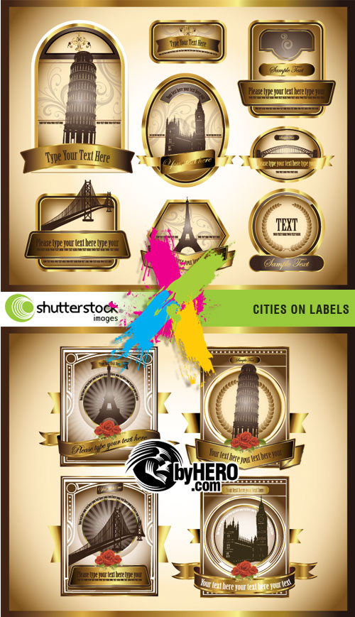Cities on Labels 2xEPS Vector SS