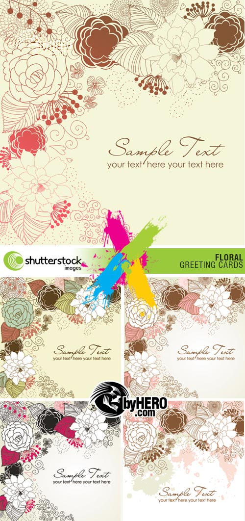 Floral Greeting Cards 5xEPS Vector SS
